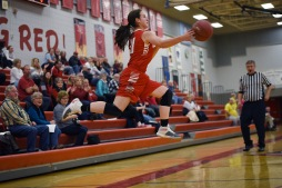 Briana Sanchez/ Tribune Hannah Johnson, Willmar, keeps the ball from going out of bounds during the game against Fergus Falls at Willmar Senior High Tuesday.