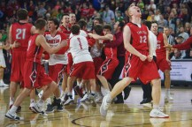 Yankton's Matthew Mors lets out a yell after their win against Harrisburg Saturday, March 17, at the Denny Sanford Premier Center in Sioux Falls.