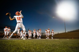 Canutillo's Caleb Rodriguez warms up before the game against Canyon Randall in a Class 5A Division II playoff game at the Mustang Bowl Friday, Nov. 22, in Andrews.
