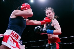 Boxer Jennifer Han goes against Jerri Sitzes Saturday, Feb. 15, at the El Paso County Coliseum. Han won by unanimous decision.