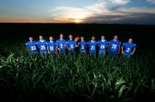 Clint High School football seniors Thursday, July 25, at Rogers Farms in Clint.
