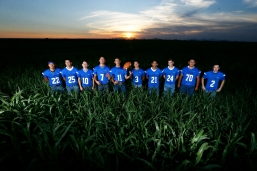 Clint High School football seniors Thursday, July 25, at Rogers Farms in Clint.