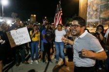 Eddie Cano, La Potencia De Dios church member, becomes emotional talking to the crowd at the vigil outside Walmart Tuesday, Aug. 6, in El Paso.