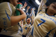 San Elizario's Desiree Morales (4) celebrates with the team after their win against Clint Tuesday, Oct. 15, at San Elizario High School in San Elizario.
